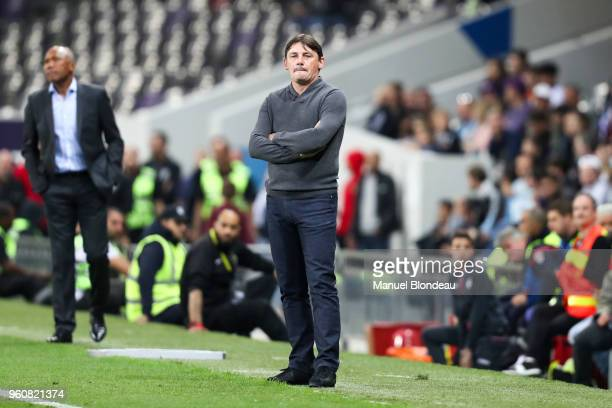 Head coach Michael Debeve of Toulouse during the Ligue 1 match between Toulouse and EA Guingamp at Stadium Municipal on May 19 2018 in Toulouse