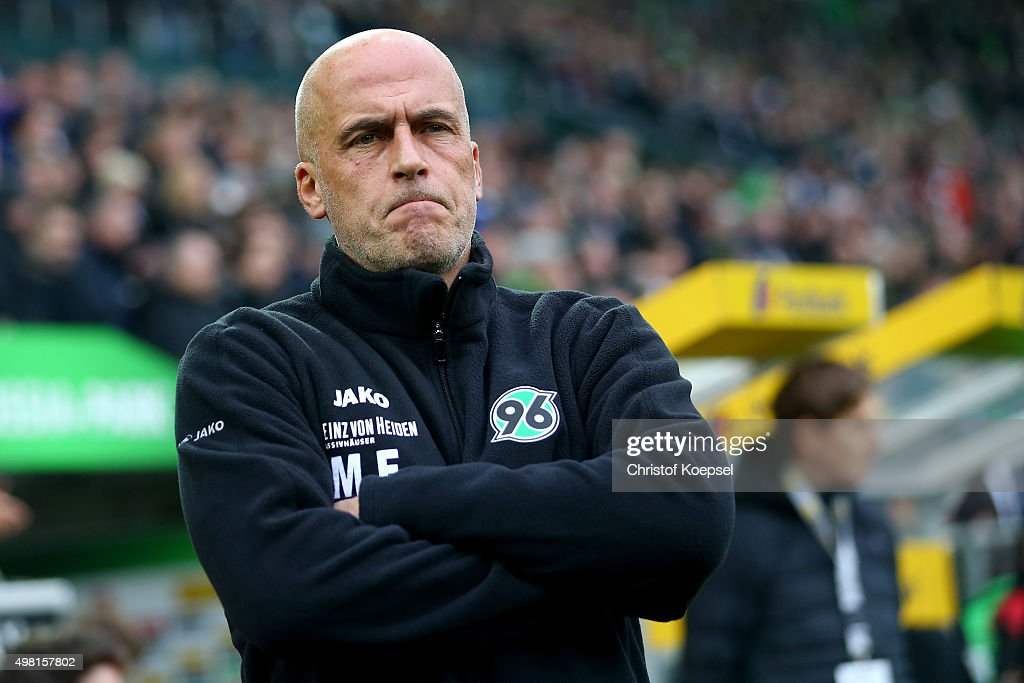 Head coach Michael Frontzeck of Hannover looks thoughtful during the Bundesliga match between Borussia Moenchengladbach and Hannover 96 at Borussia-Park on November 21, 2015 in Moenchengladbach, Germany.