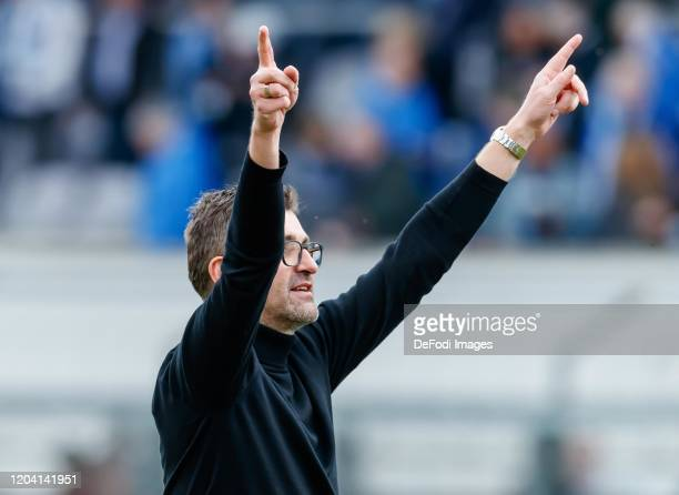 Head coach Michael Koellner of 1860 Muenchen celebrate after winning the 3. Liga match between TSV 1860 Muenchen and Chemnitzer FC at Stadion an der...
