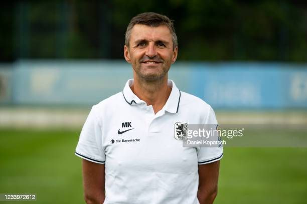 Head coach Michael Koellner of TSV 1860 Muenchen poses during the team presentation on July 14, 2021 in Munich, Germany.
