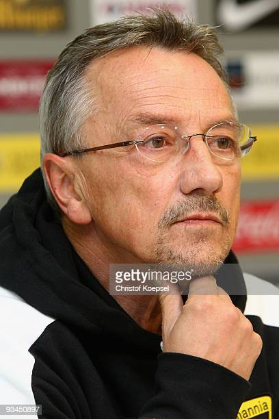 Head coach Michael Krueger of Aachen looks thoughtful during the press conference after losing 02 the second Bundesliga match between Alemannia...