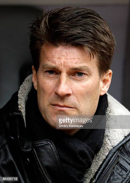 Head Coach Michael Laudrup of Spartak Moscow looks on during the Russian Football League Championship match between Spartak Moscow and Zenit Saint...