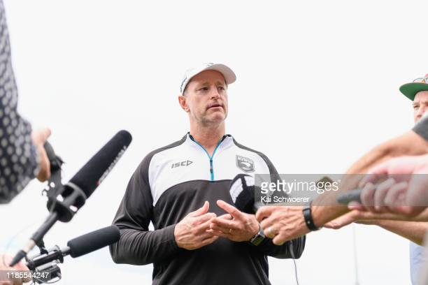 Head Coach Michael Maguire speaks to the media following the New Zealand Kiwis training session at Nga Puna Wai on November 05, 2019 in Christchurch,...