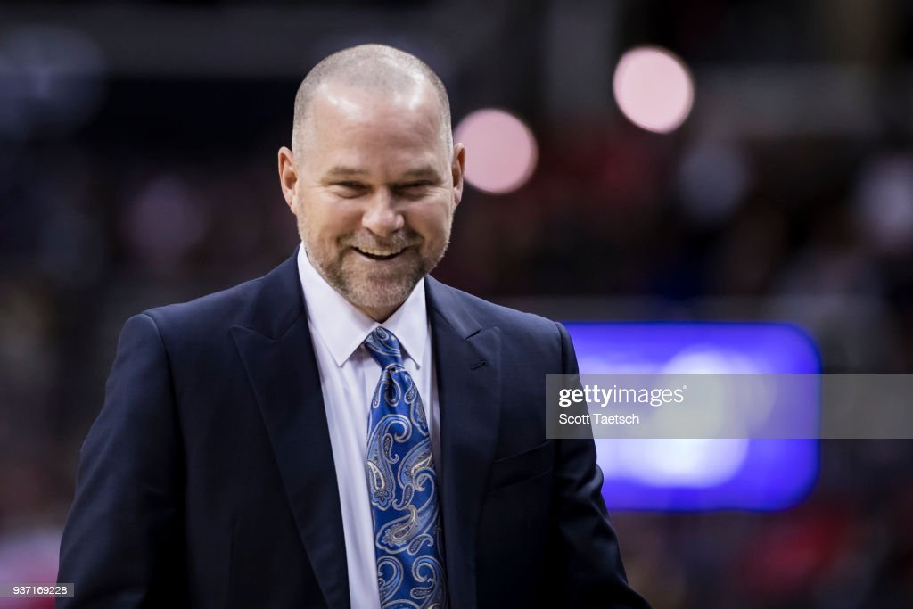 Head coach Michael Malone of the Denver Nuggets reacts against the Washington Wizards during the first half at Capital One Arena on March 23, 2018 in Washington, DC.