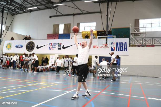 Head Coach Michael Malone of the Denver Nuggets takes part in the Jr NBA Special Olympics clinic as part of Basketball Without Borders Africa at the...