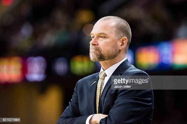 Head coach Michael Malone of the Denver Nuggets watches from the sidelines during the first half against the Cleveland Cavaliers at Quicken Loans...
