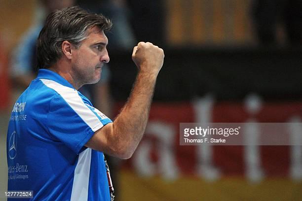 Head coach Michael Roth of Melsungen celebrates during the Toyota Handball Bundesliga match between MT Melsungen and HBW BalingenWeilstetten at the...