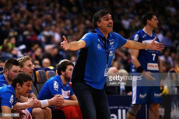Head coach Michael Roth of Melsungen gestures during the Lufthansa Final Four SemiFinal between MT Melsungen and THW Kiel at O2 World on April 13...