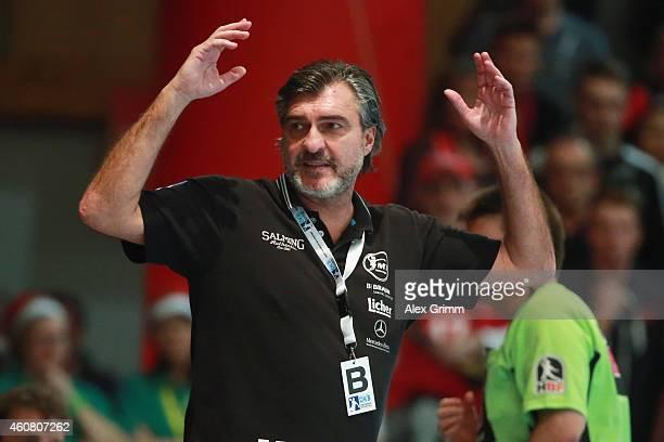 Head coach Michael Roth of Melsungen reacts during the DKB Handball Bundesliga match between MT Melsungen and SG FlensburgHandewitt at...