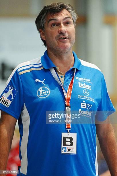 Head coach Michael Roth of Melsungen reacts during the Toyota Handball Bundesliga match between MT Melsungen and HBW BalingenWeilstetten at the...