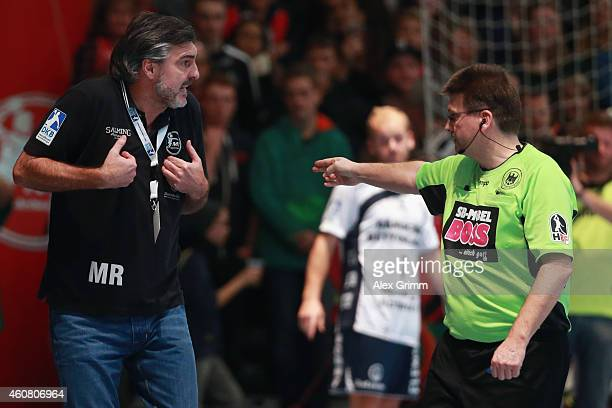 Head coach Michael Roth of Melsungen reacts to a two minute penalty during the DKB Handball Bundesliga match between MT Melsungen and SG...