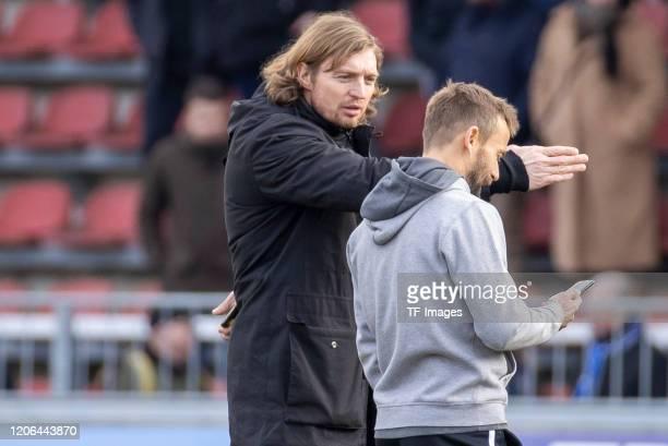 head coach Michael Schiele of Wuerzburger Kickers and Chairman Daniel Sauer during the 3 Liga match between FC Wuerzburger Kickers and SV Waldhof...