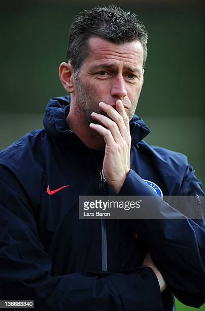 Head coach Michael Skibbe of Berlin looks on during the friendly match between Hertha BSC Berlin and 1. FC Heidenheim at Cornelia Sportscenter on...