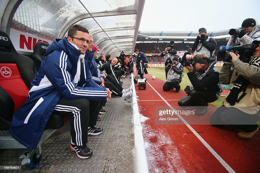 Head coach Michael Wiesinger of Nuernberg looks on prior to the Bundesliga match between 1. FC Nuernberg and Hamburger SV at Easy Credit Stadium on January 20, 2013 in Nuremberg, Germany.