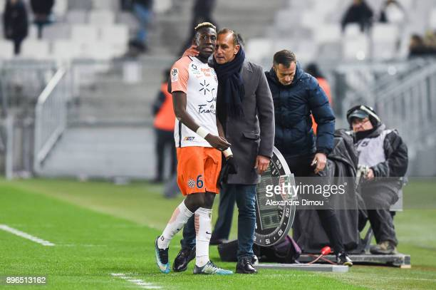 Head coach Michel Der Zakarian and Salomon Sambia of Montpellier during the Ligue 1 match between FC Girondins de Bordeaux and Montpellier Herault SC...