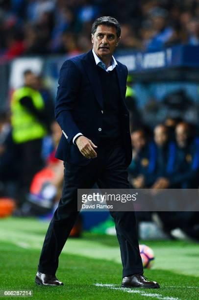 Head coach Michel of Malaga CF looks on during the La Liga match between Malaga CF and FC Barcelona at La Rosaleda stadium on April 8 2017 in Malaga...