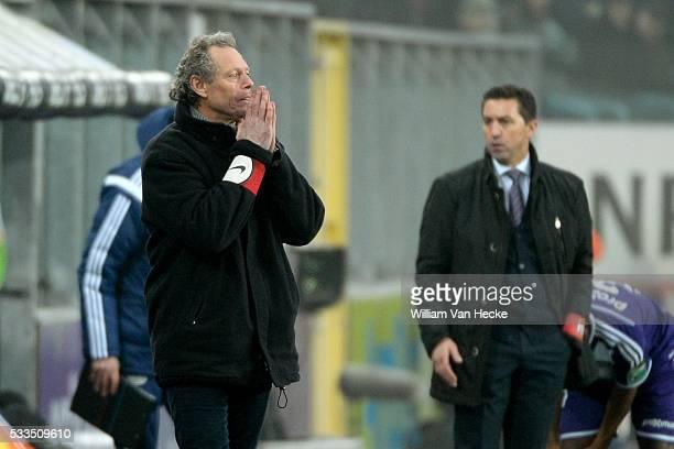 Head coach Michel Preud'Homme of Club Brugge and Head coach Besnik Hasi of RSC Anderlecht during the Jupiler Pro League match between RSC Anderlecht...