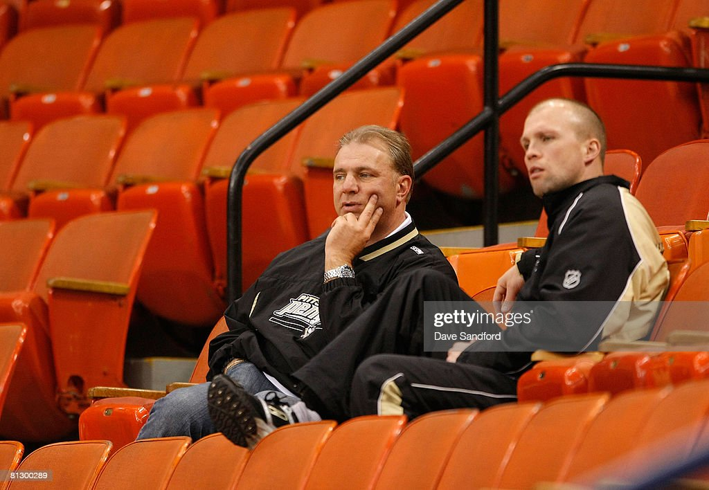 Head coach Michel Therrien and assistant coach Mike Yeo of the Pittsburgh Penguins watch the Detroit Red Wings in a team practice for the 2008 NHL Stanley Cup Finals at Mellon Arena on May 30, 2008 in Pittsburgh. Pennsylvania.