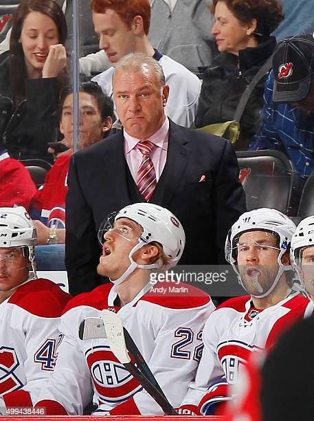Head coach Michel Therrien of the Montreal Canadiens looks on against the New Jersey Devils during the game at the Prudential Center on November 27...