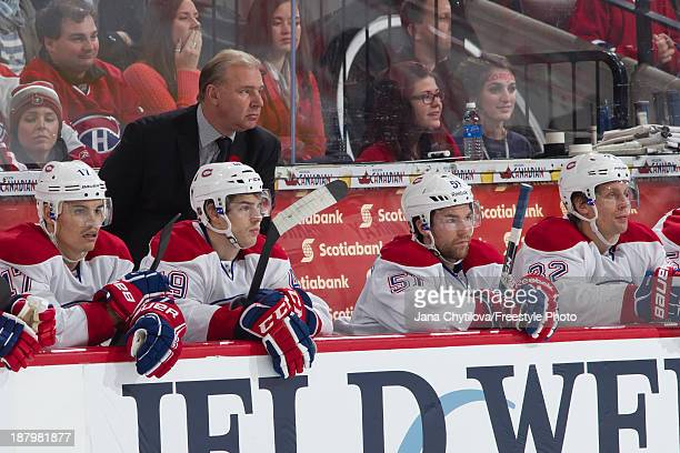 Head coach Michel Therrien of the Montreal Canadiens looks on from the bench during an NHL game against the Ottawa Senators at Canadian Tire Centre...