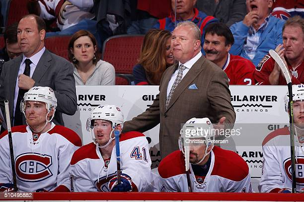 Head coach Michel Therrien of the Montreal Canadiens reacts on the bench during the first period of the NHL game against the Arizona Coyotes at Gila...