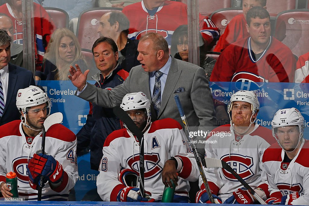 Head coach Michel Therrien of the Montreal Canadiens reacts to third period action against the Florida Panthers at the BB&T Center on December 29, 2015 in Sunrise, Florida. The Panthers defeated the Canadiens 3-1.