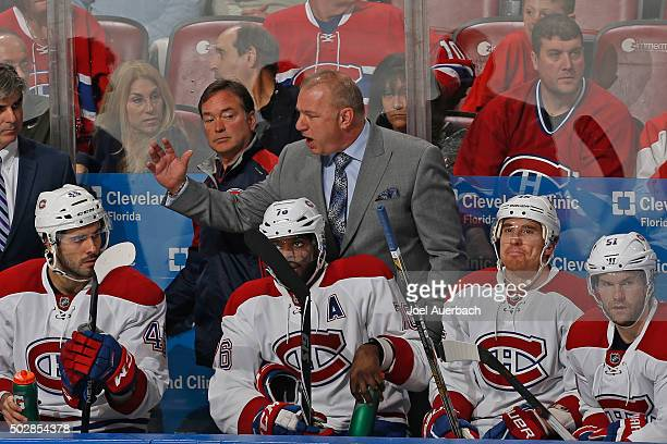 Head coach Michel Therrien of the Montreal Canadiens reacts to third period action against the Florida Panthers at the BBT Center on December 29 2015...