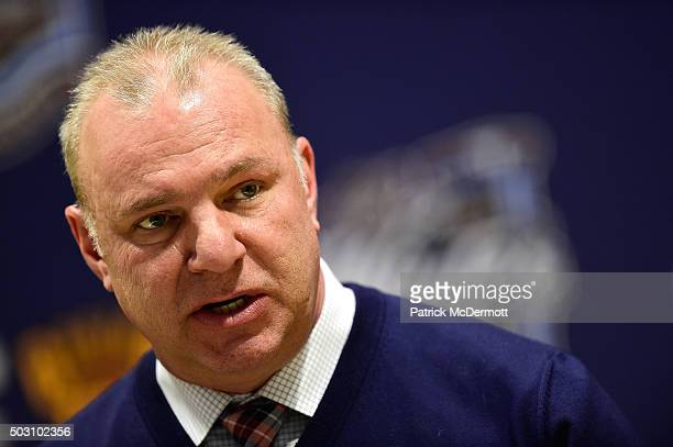 Head Coach Michel Therrien of the Montreal Canadiens speaks to the media after their 2016 Bridgestone NHL Classic against the Boston Bruins at...