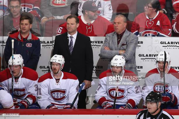 Head coach Michel Therrien of the Montreal Canadiens watches from the bench during the first period of the NHL game against the Arizona Coyotes at...
