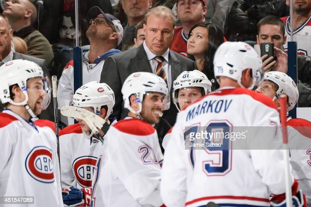 Head Coach Michel Therrien of the Montreal Canadiens watches his team play against the Columbus Blue Jackets on November 15 2013 at Nationwide Arena...