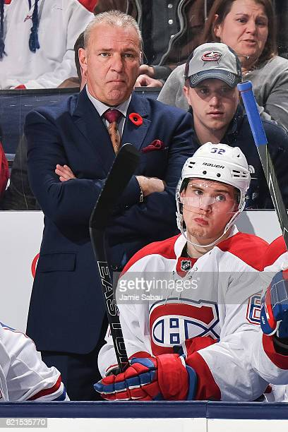 Head Coach Michel Therrien of the Montreal Canadiens watches his team play against the Columbus Blue Jackets on November 4 2016 at Nationwide Arena...