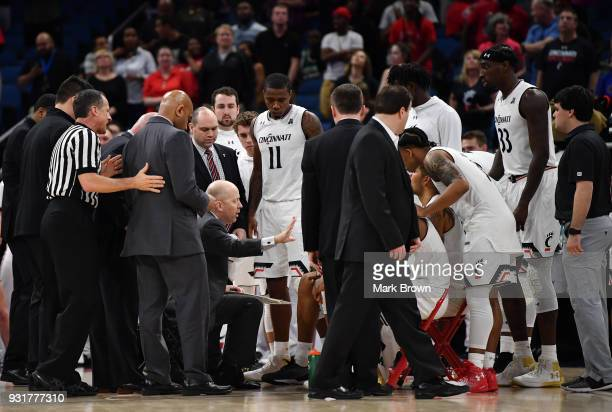 Head coach Mick Cronin of the Cincinnati Bearcats in a action during the final game of the 2018 AAC Basketball Championship against Houston Cougars...