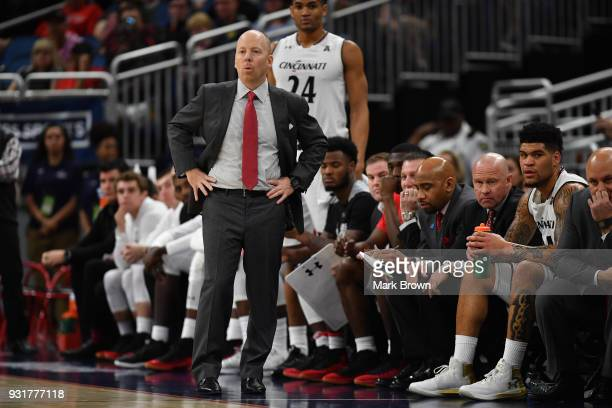 Head coach Mick Cronin of the Cincinnati Bearcats in action during the final game of the 2018 AAC Basketball Championship against the Houston Cougars...