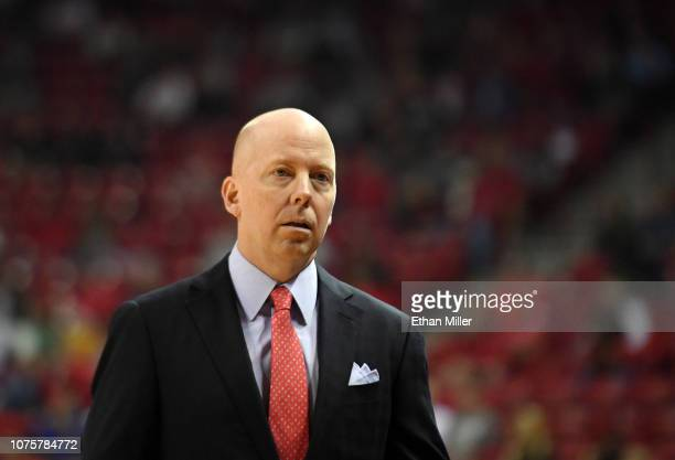Head coach Mick Cronin of the Cincinnati Bearcats looks on during his team's game against the UNLV Rebels at the Thomas Mack Center on December 01...