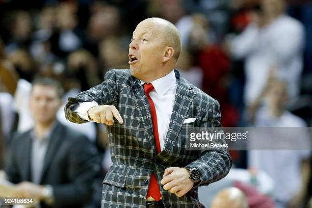 Head coach Mick Cronin of the Cincinnati Bearcats reacts against the Tulsa Golden Hurricane during the first half at BBT Arena on February 25 2018 in...