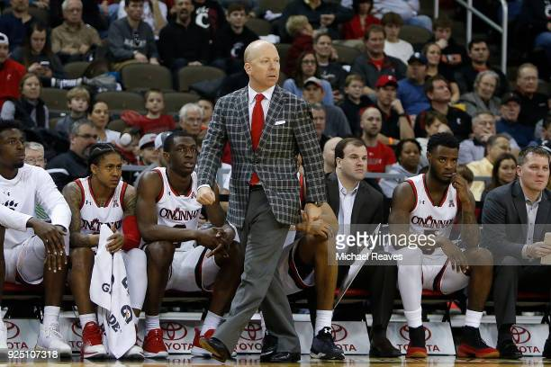 Head coach Mick Cronin of the Cincinnati Bearcats reacts against the Tulsa Golden Hurricane at BBT Arena on February 25 2018 in Highland Heights...