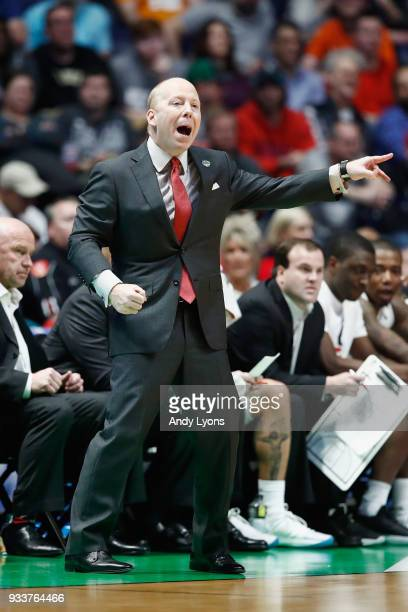 Head coach Mick Cronin of the Cincinnati Bearcats reacts against the Nevada Wolf Pack during the first half in the second round of the 2018 Men's...