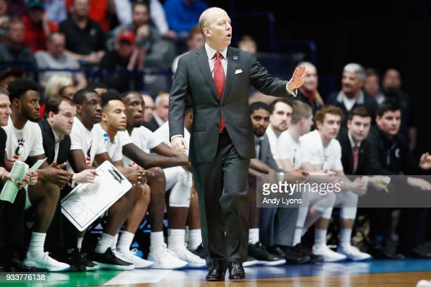 Head coach Mick Cronin of the Cincinnati Bearcats reacts against the Nevada Wolf Pack during the second half in the second round of the 2018 Men's...