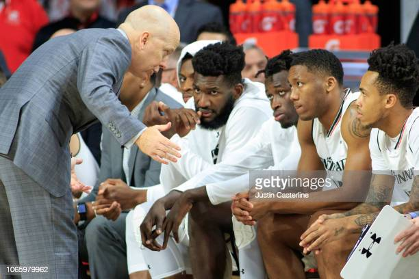 Head coach Mick Cronin of the Cincinnati Bearcats talks to his team in the game against the ArkansasPine Bluff Golden Lions at Fifth Third Arena on...