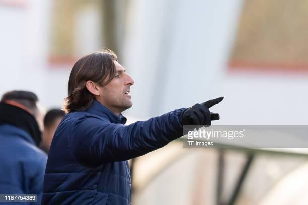 head coach Miguel Angel Angulo of FC Valencia U19 gestures during the UEFA Youth League match between Ajax Amsterdam U19 and FC Valencia U19 on...