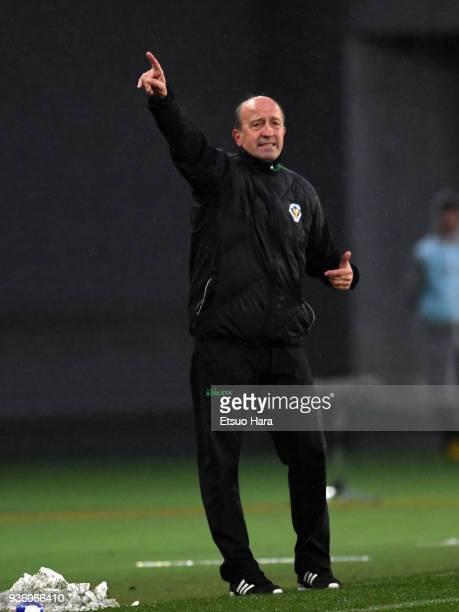 Head coach Miguel Angel Lotina of Tokyo Verdy gestures during the JLeague J2 match between Tokyo Verdy and Avispa Fukuoka at Ajinomoto Stadium on...