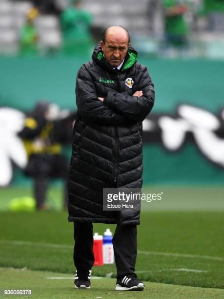 Head coach Miguel Angel Lotina of Tokyo Verdy looks on during the JLeague J2 match between Tokyo Verdy and Avispa Fukuoka at Ajinomoto Stadium on...