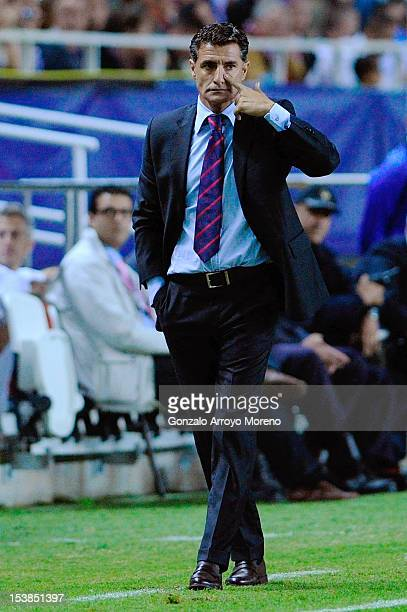 Head coach Miguel Gonzalez Martin alias Michel of Sevilla FC looks on during the La Liga match between Sevilla FC and FC Barcelona at Estadio Ramon...