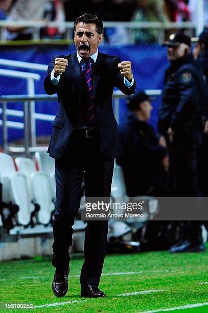Head coach Miguel Gonzalez Martin alias Michel of Sevilla FC celabrates their first goal during the La Liga match between Sevilla FC and FC Barcelona...