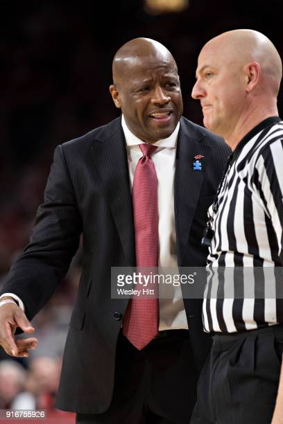 Head Coach Mike Anderson of the Arkansas Razorbacks argues with a official during a game against the Vanderbilt Commodores at Bud Walton Arena on...