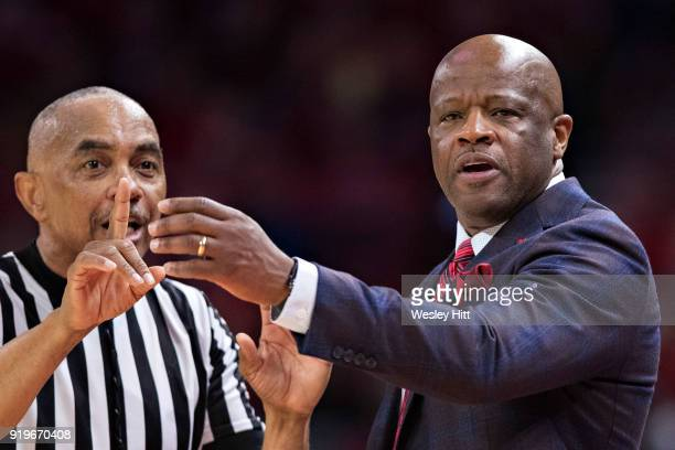 Head Coach Mike Anderson of the Arkansas Razorbacks directs his team during a game against the Texas AM Aggies at Bud Walton Arena on February 17...