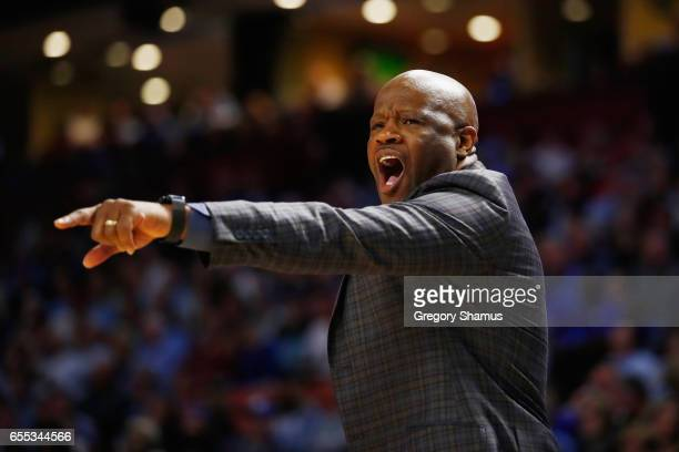 Head coach Mike Anderson of the Arkansas Razorbacks reacts in the first half against the North Carolina Tar Heels during the second round of the 2017...
