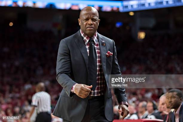 Head Coach Mike Anderson of the Arkansas Razorbacks reacts to his players during a game against the Oklahoma State Cowboys at Bud Walton Arena on...