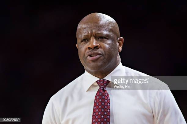 Head Coach Mike Anderson of the Arkansas Razorbacks shows his frustration during a game against the LSU Tigers at Bud Walton Arena on January 10 2018...