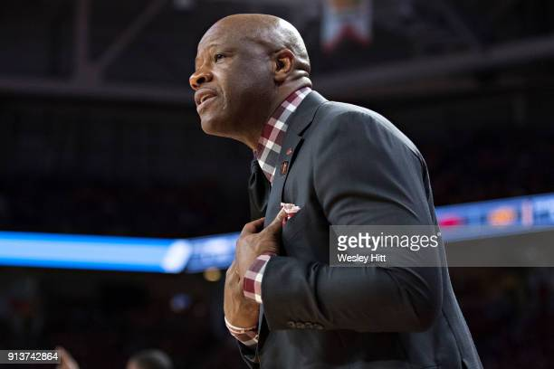 Head Coach Mike Anderson of the Arkansas Razorbacks talks to his players during a game against the Oklahoma State Cowboys at Bud Walton Arena on...